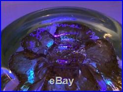 Rare Joe Zimmerman 1986 Signed Art Glass Hollow Weight Gold Flower Paperweight