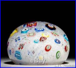 Rare MAGNUM antique Baccarat 1848 scattered millefiori glass paperweight