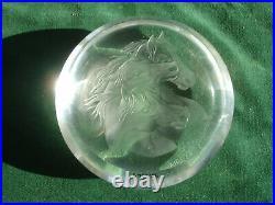 Rare MAX ERLACHER STEUBEN Engraved Glass PaperWeight Three Horse Heads MRE 69