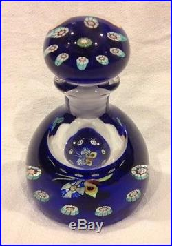 Rare Perthshire Bottle Paperweight, Millefiori Butterfly Blue Mint Condition