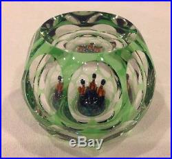 Rare Perthshire Paperweight Green Glass Cut to Clear With 3 Ducks Inside
