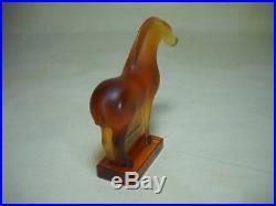 Rare Signed Lalique Amber Tang Horse Art Glass Figure Paperweight Mint Condition