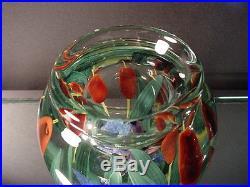 Rare Steven Lundberg Glass Art Dragonfly withCattails Paperweight Vase C 2000
