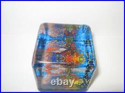 Rare Vintage Murano Glass Fish Aquarium Tank Block Cube Italy Paperweight