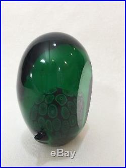 Rare Vintage Murano Italy Green Art Glass Bird Paperweight Figurine, 4 3/4 Tall