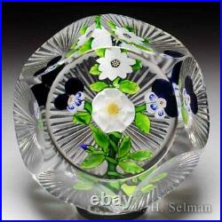 Rare antique Baccarat flat bouquet faceted crystal glass paperweight