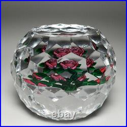 Ray Banford cabbage rose faceted glass geometric faceting paperweight