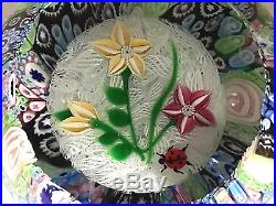 Really unusual, lovely John Deacons 2003 millefiori overlaid paperweight 782