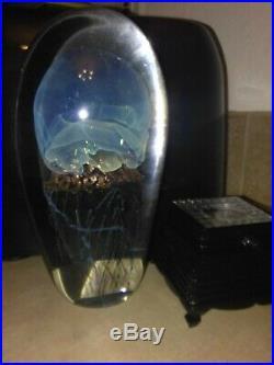 Rich Satava Jellyfish Glass Art 6.5 paperweight Beautiful