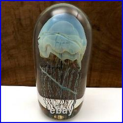 Richard Satava Art Glass Jellyfish Moon Sculpture Paper Weight 1997 96
