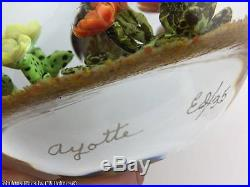 Rick AYOTTE Magnum Bird & Desert Flower Scene Art Glass Paperweight Ltd Ed of 35