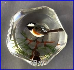 Rick Ayotte Art Glass Paperweight Chickadee 1980 Faceted