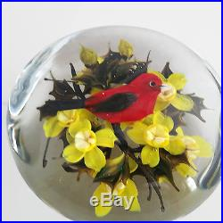 Rick Ayotte Cardinal & Daffodils Art Glass Paperweight Limited Edition