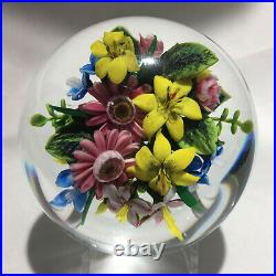 Rick Ayotte Glass Paperweight with Floral Bouquet, Signed 2003