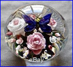 Rick Ayotte Paperweight Magnum Unique Tranquility Bouquet W Butterfly 4