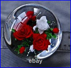 Rick Ayotte Paperweight Red & White Roses 2000 L/e 25 3 1/2