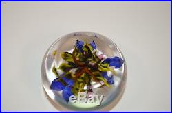 Rick Ayotte Studio Art Glass Paperweight M-32'89 Pink and Blue Flowers NICE