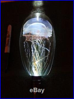 Rick SATAVA Moon Jellyfish Art Glass Sculpture Paperweight 6-3/4 2673-96