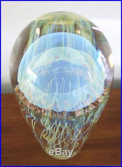 Rick SATAVA Moon Jellyfish Sculpture Studio Art Glass Paperweight