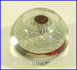 Rick Satava Art Glass Red Nautilus on Cream Paperweight Signed Numbered 2051-02