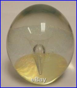Robert Eickholt Nebula Ice Vortex Art Glass Paperweight Iridescent 1989 Signed