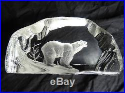 Rock Crystal Glass Bear Sculpture Paperweight Ornament 20th Century