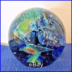 Rollin Karg Hand Blown Glass Dichroic Large Convex Signed Paperweight 4 in diam