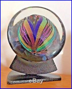 Rollin Karg Hand Blown Glass Dichroic Satellite Sculpture with Stand 6 inch Diam