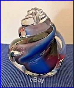 Rollin Karg Hand Blown Glass Multi Color Sculpture Signed Paperweight 5.25 H