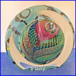 Rollin Karg Hand Blown Glass Reactive Blue Disk Signed 6x7x3 inch Paperweight