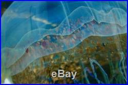 SATAVA Large Moon Jellyfish Art Glass Sculpture/Paperweight, Apr 10Hx4.5W