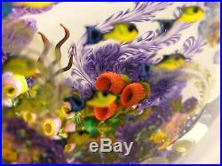 SCHOOLING FISH 1995 Large Sculptural Paperweight CHRIS HEILMAN Coral Reef Block