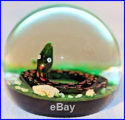 SPACTACULAR Vintage PAUL YSART SNAKE with Awesome PATTERN Art Glass Paperweight