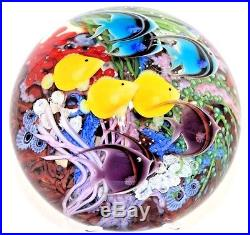 SPECIAL Daniel SALAZAR Colorful 9 FISH Reef AQUARIUM Art Glass PAPERWEIGHT Rare