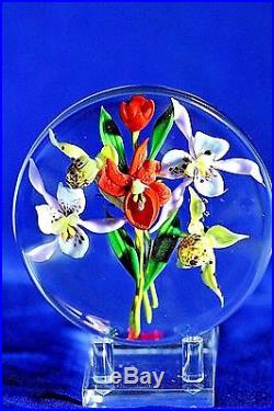 SPECTACULAR Paul STANKARD Floral ORCHID BOUQUET Art GLASS Paperweight