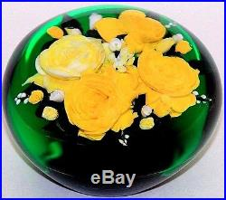SPLENDID Magnum RICK AYOTTE Yellow ROSE BOUQUET Art Glass PAPERWEIGHT