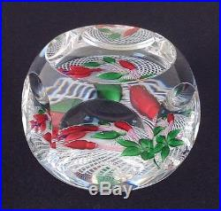 ST. LOUIS ART GLASS PAPERWEIGHT, 1976, RED FLOWERS ON LATTICINIO, FACETED, 3DIA