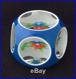 ST. LOUIS ART GLASS PAPERWEIGHT, WHITE BLUE OVERLAY, FACETED, FLOWERS, 1975, 3D