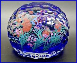 STEVEN LUNDBERG Angelfish Art Glass LT ED Magnum Paperweight, Apr 3.25Hx4.25W