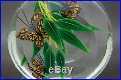 STEVEN LUNDBERG Monarch Butterflies & Bamboo Leaves Paperweight, Apr 5Hx4.5W