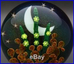 STEVEN LUNDBERG Stars, Cactus & Flowers Night Art Paperweight, Apr 2.5H x 3.25W