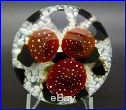 STEVEN LUNDBERG Studios TOADSTOOL TRIO Art Glass 1988 Paperweight, Apr 2.75Hx3W