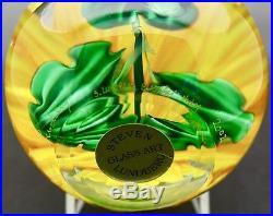 STEVEN LUNDBERG Sunflower Vincent Vanque Art Glass Paperweight, Apr 3.25Hx3.75W
