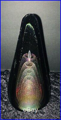 STUART ABELMAN Vintage 1986 Rare IRIDESCENT SIGNED ART GLASS Large PAPERWEIGHT