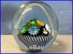 Stunning Large Old Murano Fratelli Toso Millefiori Basket Paperweight -very Rare