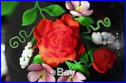 STUNNING Magnum VICTOR TRABUCCO Glass Art RED ROSE BOUQUET Faceted PAPERWEIGHT