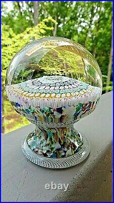 STUNNING! Murano Art Glass Concentric Millefiori PEDESTAL Latticino Paperweight