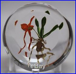 STUNNING Paul STANKARD Blooming ORCHID Early ROOT PERSON Art Glass PAPERWEIGHT