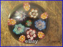 Superb Quality Millifiori Glass Paperweight With Flat Ground Base