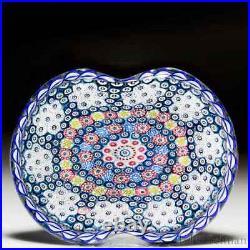 Saint Louis 1981 Basket of Flowers millefiori pedestal glass paperweight